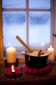 Finnish Christmas porridge made of rice. Typical lunch or breakfast of Christmas eve day. Christmas Mood, Christmas Candles, Vintage Christmas, Xmas, Christmas Decorations, Christmas Morning, Finnish Recipes, Winter Time, Winter Night