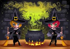 Funny witches with pot.   #GraphicRiver         Funny witches with pot. Cartoon and vector illustration. Proportions in A3 – A4 – 50×70   Folder contains:   EPS file; High Resolution JPG file;     Created: 19September12 GraphicsFilesIncluded: JPGImage #VectorEPS Layered: Yes MinimumAdobeCSVersion: CS Tags: black #broom #card #character #color #cute #dress #fantasy #funny #girl #graphic #halloween #happy #holiday #horror #illustration #magic #magician #mascot #people #postcard #pot #potion…