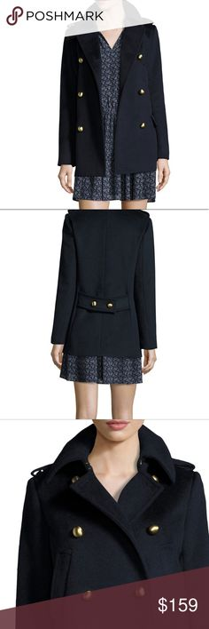 NWT Michael Kors Navy military pea coat sz Medium New with tags Michael Kors navy military pea coat, lined. Perfect for winter and fall weather, wool blend. Size medium, Original retail $395, sold out at Neiman Marcus at $197. Offers and questions welcome, beautiful coat! Michael Kors Jackets & Coats Pea Coats