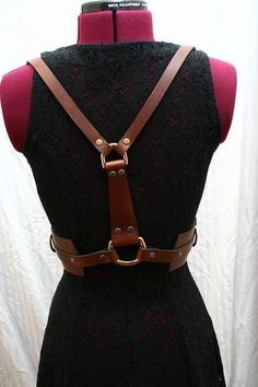 Zoe Leather Harness with Solid Brass Hardware Glam Bondage Fashion $225