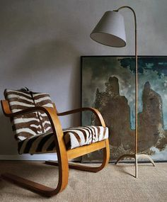 Alvar Aalto Early Edition Cantilevered Armchair in Original Zebra Hide, Hide, Standard Lamps, Zebra Hide, Artek, Flooring, Furniture, Armchair, Modern, Home Decor