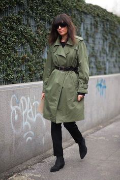 Khaki jacket, black trousers, shoes. Street fall autumn. women fashion outfit clothing style apparel @roressclothes closet ideas