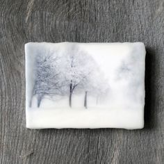 Original encaustic wall art. Encaustic Minnesota Winter Photography. Winter landscape. Snow. Blizzard. 5x7