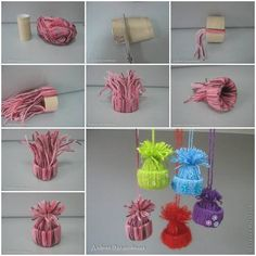 Cut a toilet paper tube, tie strips of yarn all the way around (Very close to the same length), when done gather them at the top and tie them off with a string that can double as a hanger. So cute!