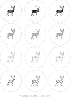 free printable: black + white patterned deer silhouette labels or tags