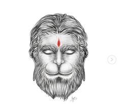 Hanuman Tattoo, Ganesha Tattoo, Shiva Tandav, Human Face Drawing, Lord Hanuman Wallpapers, Hanuman Images, Shri Hanuman, Indian Art, Art Sketches