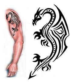 Tattoo Designs | Tribal Dragon tattoo design by ~thehoundofulster on deviantART