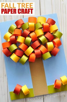 Make this beautiful fall tree paper craft to celebrate the fall season. Fun paper crafts for kids, fall crafts for kids, paper craft, kids paper crafts. for kids Beautiful Fall Tree Paper Craft Fall Crafts For Kids, Paper Crafts For Kids, Thanksgiving Crafts, Crafts To Do, Holiday Crafts, Art For Kids, Craft Kids, Kids Diy, Craft Art