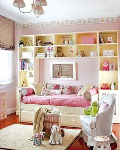 Precious Girls Bedroom Ideas, love the shelves and use of space for trundle bed placement center of shelves... #Girls #Bedroom #Ideas