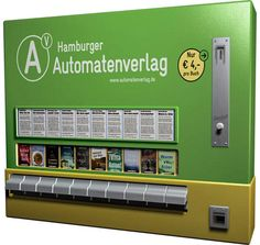 Old cigarette machine turned into book vending machine. Europe.