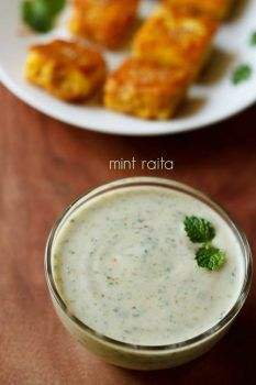 mint raita recipe, how to make mint raita | pudina raita recipe
