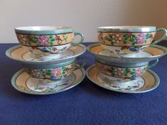 Vintage - Hand Painted Lusterware Tea Cups and Saucers - Set of 4 -Made in Japan