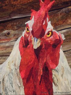 close up, Cock of the Walk by David Taylor, Colorado, USA. 3rd place - applique, Houston 2013 Quilt Festival