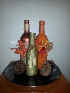 Autumn Wine Bottles (Centerpiece)