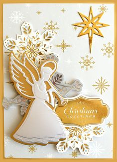 Gold Xmas Angels Christmas Card Topper Craft Embellishment Sticker