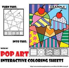 """Book of over 70 """"Pop Art""""-style interactive coloring sheets featuring designs for all occasions--all holidays and seasons throughout the entire year!"""