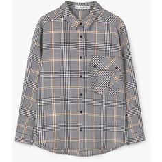 Prince of Wales Shirt (€18) via Polyvore featuring tops, pattern long sleeve shirt, extra long sleeve shirts, patterned collared shirts, shirt top y mango shirts