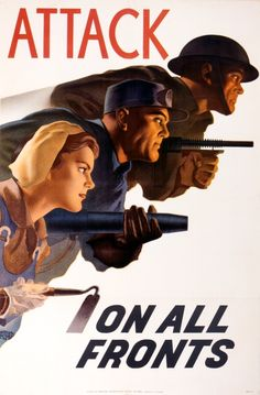 This remarkable 1943 poster uses dynamic composition and a forceful tone to highlight the work done by men and women in industry and agriculture and to put them on an equal footing with soldiers fighting at the front overseas.