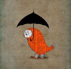 So cute! Owl art print illustration 12x16 poster. $45.00, via Etsy.