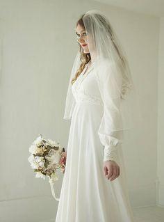 Vintage simple wedding veil headpiece comb bridal tulle