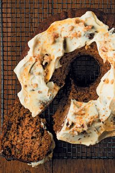 Pumpkin, walnut and date cake with maple syrup and cream cheese icing