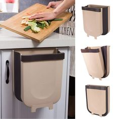 Trash Can Kitchen Wall Mounted Garbage Bin Foldable Waste Bins – rockcoo Trash Containers, Trash Bins, Cool Kitchen Gadgets, Cool Kitchens, Kitchen Flooring, Kitchen Countertops, Kitchen Countertop Organization, Kitchen Cabinet Doors, Cabinet Hardware