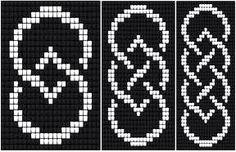 Celtic Knot Ribbon 2 (loom) by Katherina Kostinsky Loom Bracelet Patterns, Bead Loom Bracelets, Bead Loom Patterns, Peyote Patterns, Beading Patterns, Cross Stitch Patterns, Beading Ideas, Beading Supplies, Cross Stitches