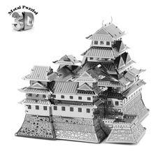 3D Metal Puzzles Miniature Model DIY Jigsaws Building Model Silver  Decoration Gift Educational Toys Himeji Castle Japan