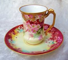 "Exceptionally Decorated Vintage Limoges 1900's Vibrant Hand Painted ""Petite Wild Pink Roses"" Cup & Saucer With Heavy Gold & Ruby Red Decor"