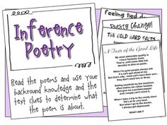 Making Inferences with Poetry - Free Download. This is a FANTASTIC resource. The responses are easy for the children to develop as there are so many text clues, and personal experiences they can call upon to provide a level 4 response.