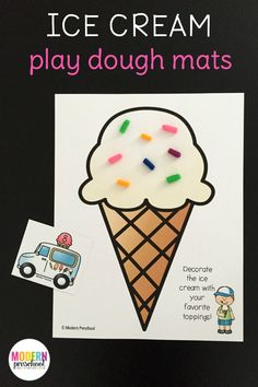 Free printable ice cream play dough mats for toddlers, preschoolers & kindergarteners to play and practice counting, numbers, fine motor skills! Ice Cream Theme, Ice Cream Day, Ice Cream Parlor, Toddler Themes, Toddler Activities, Summer Activities, Toddler Fun, Indoor Activities, Ice Cream Playdough