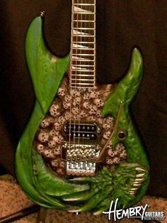 Hembry  acid green w/ skulls electric guitar