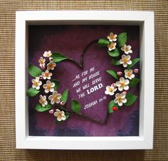 Quilled heart on a painted background of purple shades (the frame is aprox. 25x25 cm)