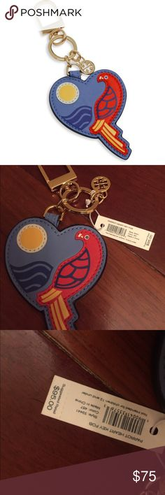 NWT Tory Burch parrot heart key fob chain Montego blue- selling for full retail currently at high end department stores :) Tory Burch Accessories Key & Card Holders