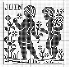 Month 06 | Free chart for cross-stitch, filet crochet | Chart for pattern - Gráfico