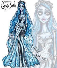 Corpse Bride by Hayden Williams; inspired by Tim Burton Fashion Design Drawings, Fashion Sketches, Art Sketches, Fashion Illustrations, Disney Style, Disney Art, Dibujos Dark, Desenhos Halloween, Dibujos Tumblr A Color