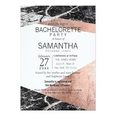 Modern Rose Gold and Marble Bachelorette Party Card