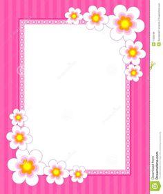 Pink Flower Border | flowers on pink background [spring / summer flowers] floral border ...