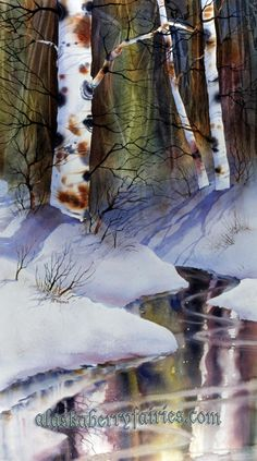 Watercolor, in private collection. approximately x by Teresa Ascone Watercolor Water, Watercolor Trees, Watercolor Landscape, Watercolour Painting, Landscape Paintings, Painting Snow, Watercolor Techniques, Winter Landscape, Tree Art