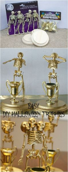 Vintage Halloween Costumes Easy Make at Home Halloween Trophies for costume Contest Parties - These DIY Halloween Contest Trophies are the perfect keepsake for any Halloween party. These DIY Halloween Awards are easy to make and are a great party favor. Spooky Halloween, Halloween Trophies, Halloween Designs, Adult Halloween Party, Holidays Halloween, Halloween Party Ideas For Adults, Halloween Juegos, Diy Halloween Party Decorations, Halloween Costume Awards