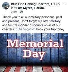 Blue Line Fishing Charters, LLC is an inshore and offshore fishing charter business. Contact our Cape Coral Fishing Charters office at First Responder Discounts, Pine Island, Offshore Fishing, Fishing Charters, Cape Coral, Military Personnel, Fort Myers, Blue Line, Memorial Day