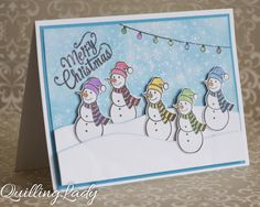I just could not resist :) I had to make a card with several Snowmen and their colourful scarfs. What they are queuing for? Ha, ha, ha, tha...