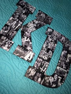 DIY picture collage Kappa Delta letters! Modge podge black and white photos all over wooden letters