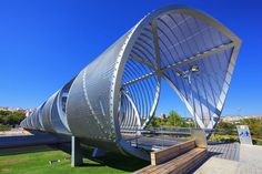 Arganzuela Bridge in Madrid Rio Park, Madrid, Spain. Designed by Dominique Perrault, it is 274 meters in length and formed by two spiral-shaped walkways; credit: prochasson frederic / shutterstock.com