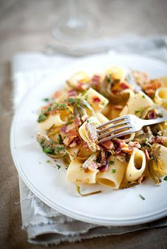 Pasta With Artichokes, Smoked Bacon and Parsley.