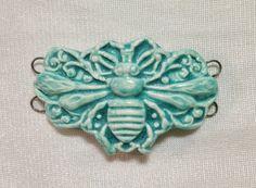 RESERVED Big Bumble Bee Ceramic Jewelry Bracelet by SlinginMud, $14.00