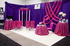 How can you not be taken by this brilliant use of color and style by JW Marriott Las Vegas Resort & Spa http://www.jwlasvegasresort.com/. This booth was both dramatic and inspiring with colors that really made this exhibit stand out for all the Las Vegas brides in attendance at the Bridal Spectacular Show http://www.bridalspectacular.com/. Photo by Adam Frazier Photography http://www.adam-frazier.com/#home/.