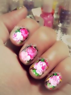 Rose Nail Art   Spring Summer Nail art #Flower #Rose