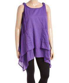 Look at this #zulilyfind! Purple Layered Cotton Sidetail Tunic - Plus #zulilyfinds