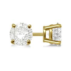 Allurez 1.00ct. 4-Prong Basket Diamond Stud Earrings 18kt Yellow Gold... ($1,945) ❤ liked on Polyvore featuring jewelry, earrings, gold diamond earrings, diamond stud earrings, round stud earrings, gold round earrings and stud earrings